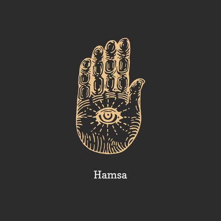 Hamsa, vector image. Sketch of magical symbol.