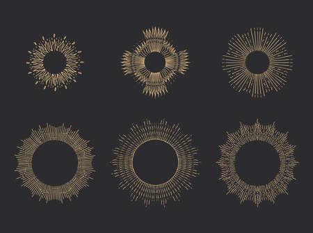 Sun rays linear drawings. Halos set in vector.
