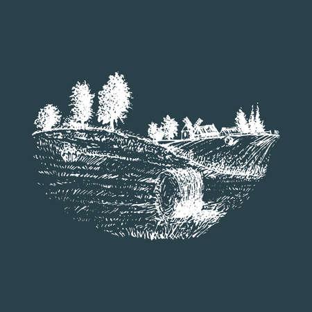 Vector sketch of rural landscape with mowed field. Vektoros illusztráció