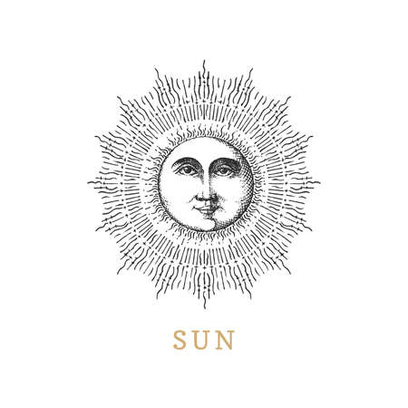 Sun, hand drawn in engraving style. Vector image.