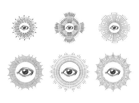 All seeing eye with sunburst,hand drawn images set Illustration