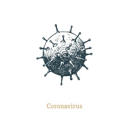 Coronavirus nCoV vector drawing in vintage style.