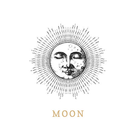 Moon, vector drawn illustration in engraving style