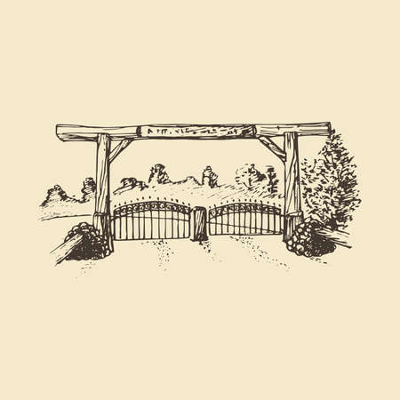 Hand drawn illustration of a farm gate view.