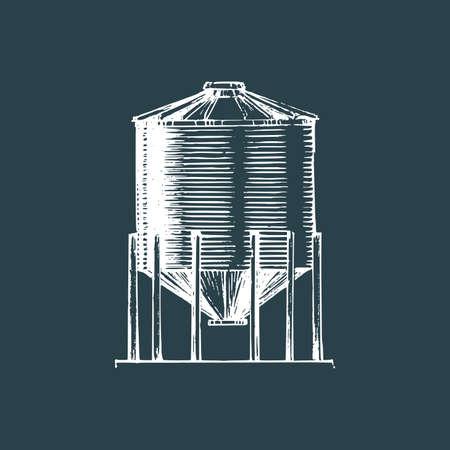 Farm hopper, drawn illustration. Sketch in vector. Illustration