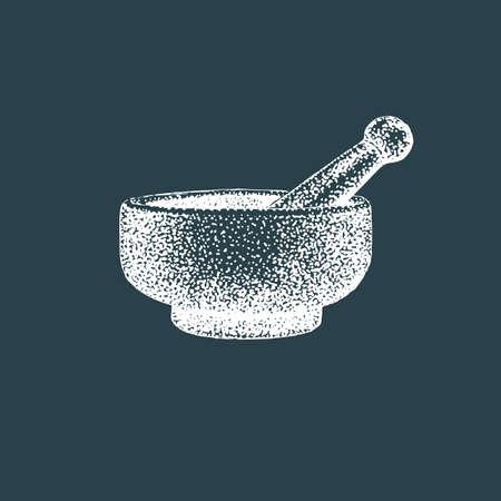 Mortar and pestle. Vector illustration of pounder. Illustration