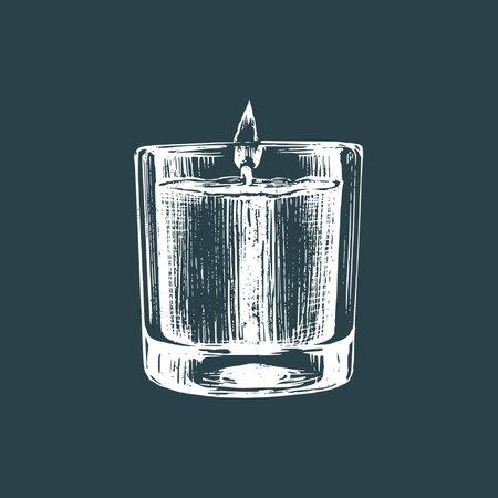 Aroma candle sketch illustration Illustration