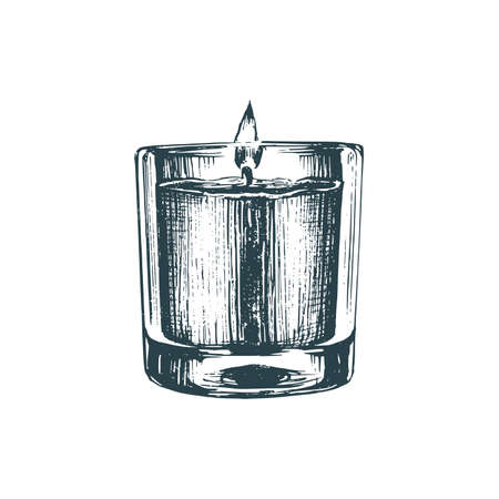 Aroma candle, sketch in vector. Drawn illustration