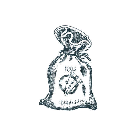 Lavender sachet sketch in vector. Perfumed bag. Illustration
