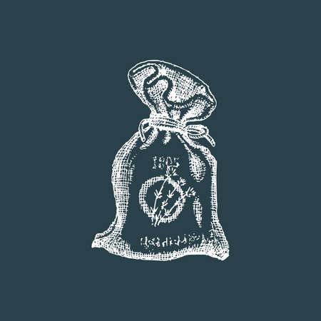Lavender sachet, sketch in vector. Perfumed bag.