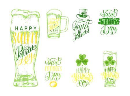 Happy Saint Patricks Day lettering, sketches set.