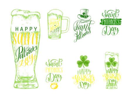 Happy Saint Patricks Day lettering, sketches set.