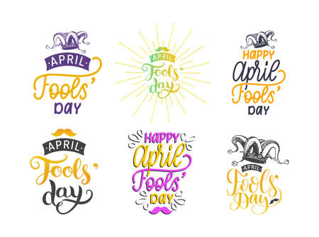 Fools day lettering set with jester hat drawing.