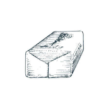Lavender soap, sketch in vector. Graphic image. Illustration