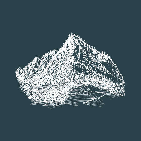 A mountain view, hand drawn illustration in vector