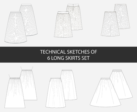 Technical sketches of 6 long skirts set in vector.