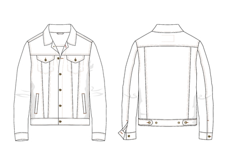 Technical sketch of denim jacket in vector. 向量圖像