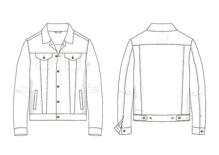 Technical sketch of denim jacket in vector. Illustration