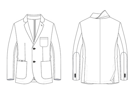 Technical sketch of mans jacket with patch pockets and without lining in vector.