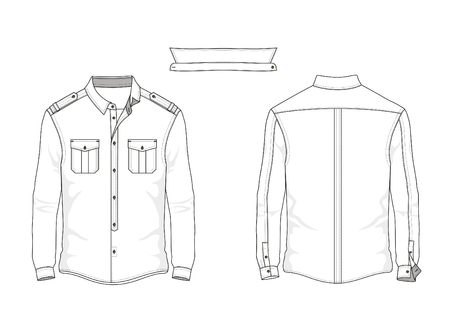 Technical sketch man shirt with collar in vector. Illustration