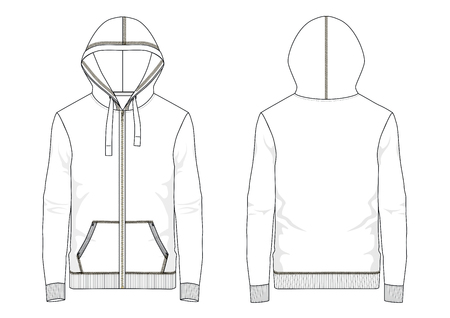 Technical sketch of man hooded sweatshirt in vector
