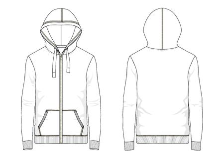 Technical sketch of man hooded sweatshirt in vector