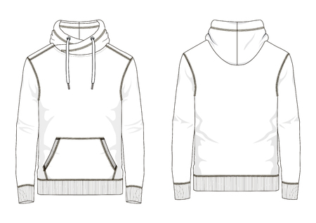 Technical sketch of man sweatshirt with hooded and  kangaroo pocket in vector Illustration