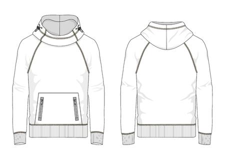 Technical sketch of man raglan sweatshirt with hooded and kangaroo pocket in vector