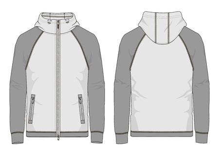Technical sketch of man raglan sweatshirt with hooded in vector.