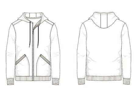 Technical sketch man hooded sweatshirt