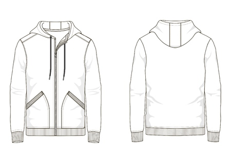 Technical sketch man hooded sweatshirt