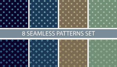 ベクトルの設定 8 のシームレスなパターンのファブリック。青、茶色および緑の色。