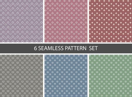 ベクトルの設定 6 のシームレスなパターンのファブリック。ピンク、赤、青、緑の色  イラスト・ベクター素材