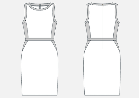 Fashion technical sketch of women middle dress in vector. Иллюстрация