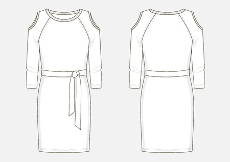 Fashion technical sketch of women middle jersey dress in vector.