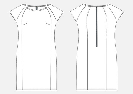 Fashion technical sketch of women middle dress in vector. Illustration