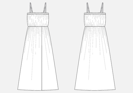 Fashion technical sketch of women long dress in vector. Illustration