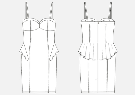 Fashion technical sketch of women middle BodyCon dress in vector. Illustration