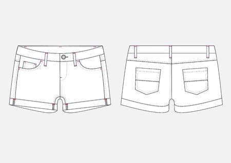 Fashion sketch of women's shorts.