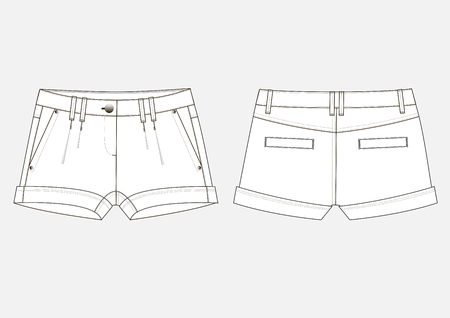 Fashion sketch of women's jeans shorts.