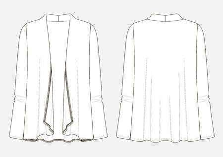 Fashion sketch of women's cardigan. Illustration