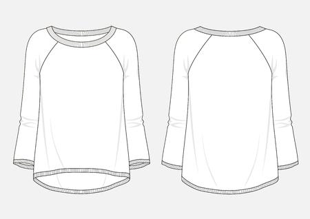 Fashion sketch of women's sweatshirt. Illustration