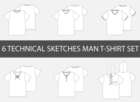 Fashion technical sketches of mens T-Shirt in vector.