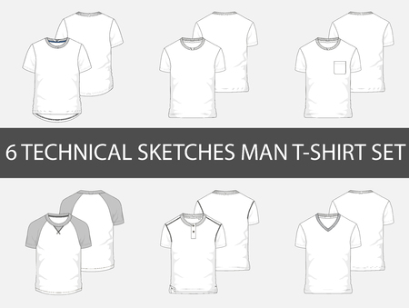 Fashion technical sketches of men T-Shirts in vector. Illustration