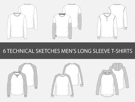 Fashion technical sketches of mens Long Sleeve T-Shirts.