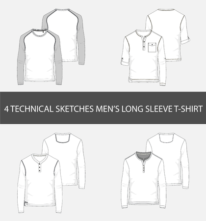 4 Fashion technical sketches mens Long Sleeve T-Shirt in vector. Illustration
