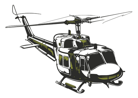Modern isolated vector illustration helicopter on white background in dark gray and army green colors.