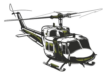 Moderne geïsoleerde vectorillustratiehelikopter op witte achtergrond in donkergrijze en legergroene kleuren.