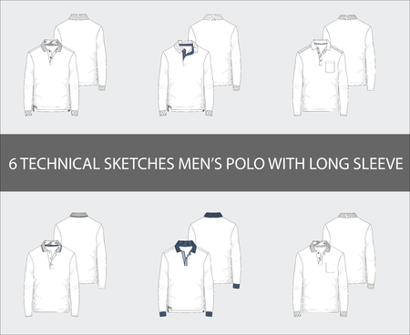 Fashion technical sketches of men's Long Sleeve Polo Shirts in vector.