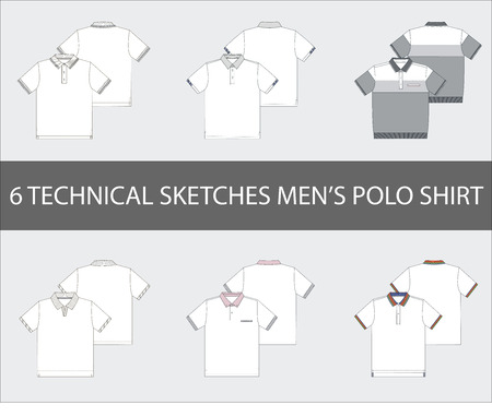 Fashion technical sketches of mens Short Sleeve Polo Shirts in vector.